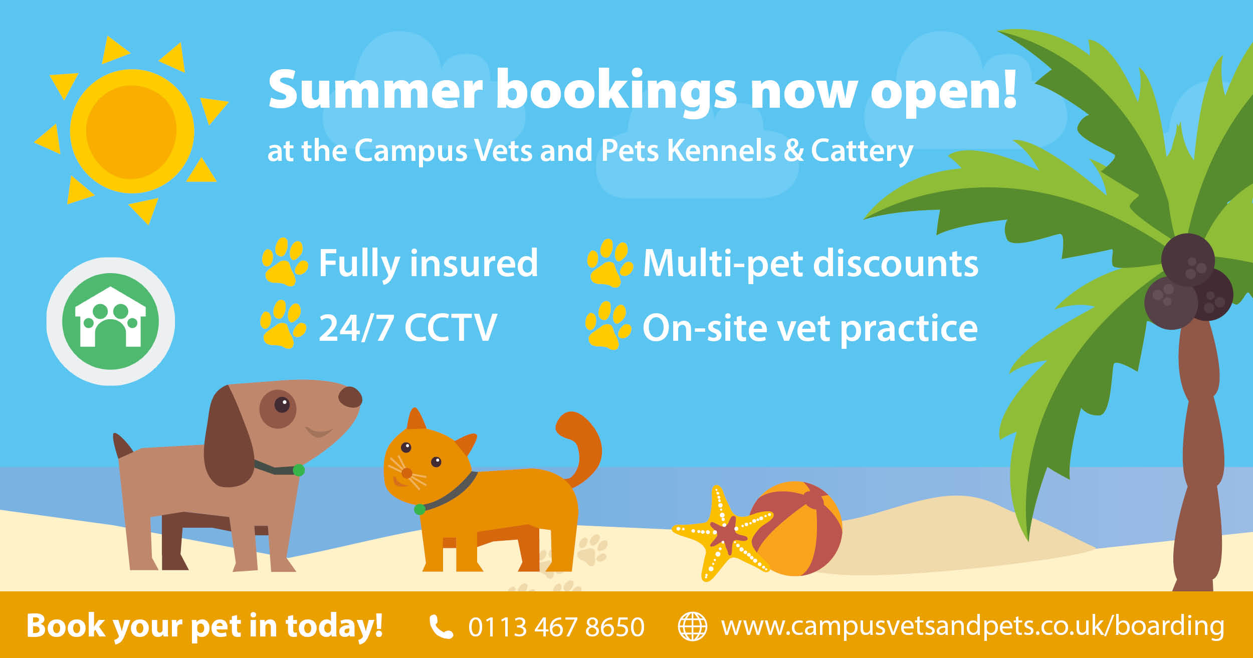 Summer bookings open at the kennels and cattery!
