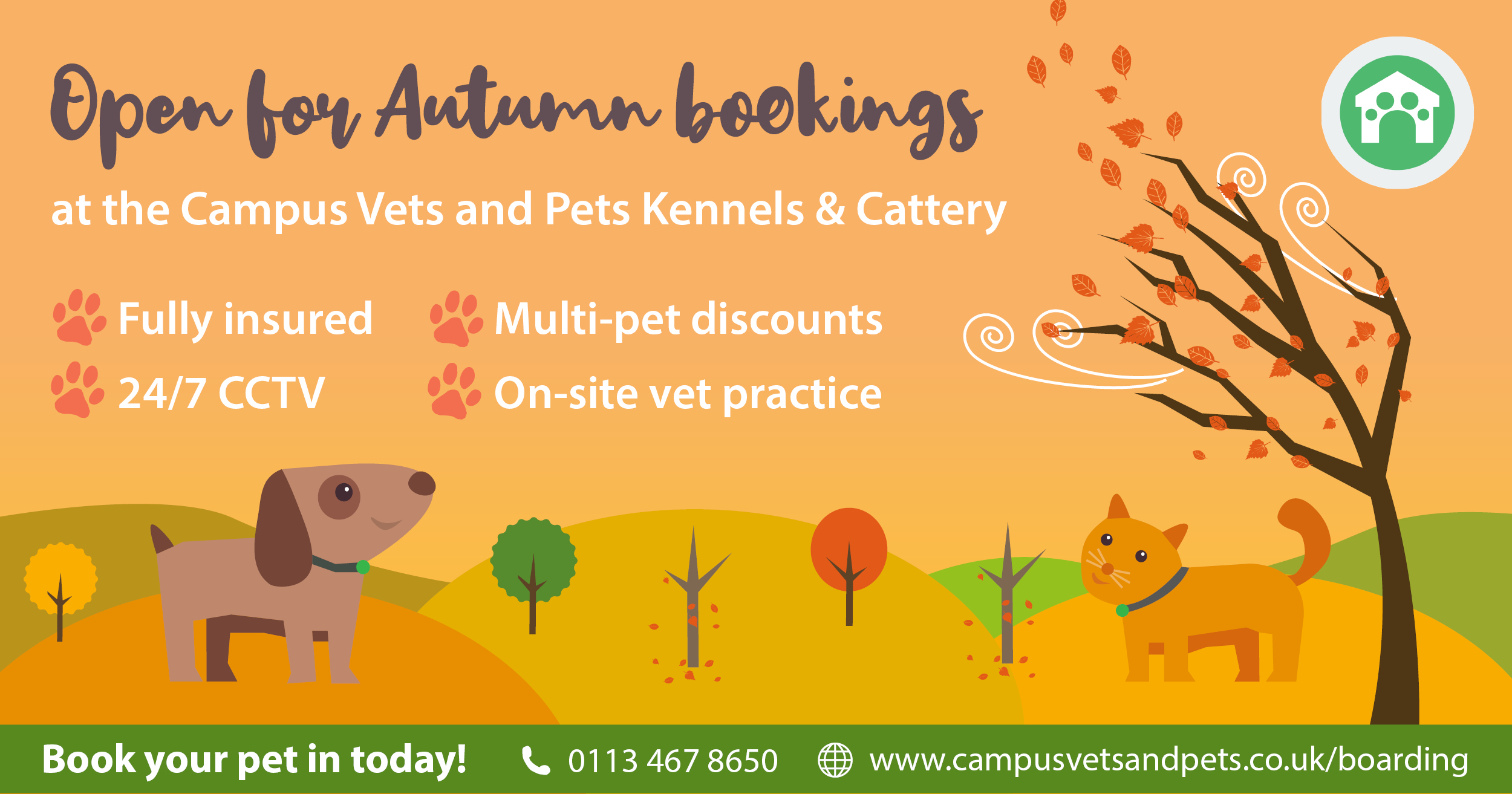 Kennels and Cattery open for Autumn bookings!